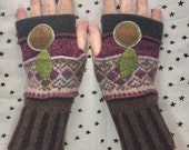 Fingerless gloves, handmade, hand warmers.  Gift for her.  Up-cyled wool and cashmere sweaters, brown, pink and nordic patterns.