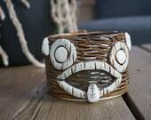 Handmade stoneware tiki mug