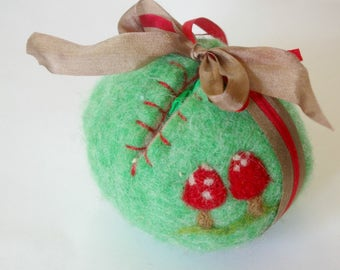 Spring Egg Toy: Sweet Something in 'Toadstool' (Silk and Wool Hollow Egg with Playsilk and Bunny)