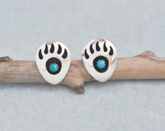 Vintage Bear Paw Stud Earrings - hollow sterling silver shadowbox with turquoise stones - tribal style post backs