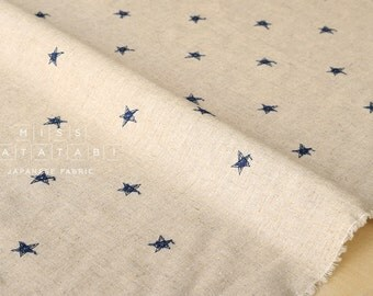 Japanese Fabric Embroidered Stars - navy blue - 50cm