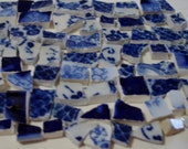 Mosaic Tile Pieces -Flow Blue- Shades of Flow Blue Tile Pieces- Vintage Broken-Plate Pieces.
