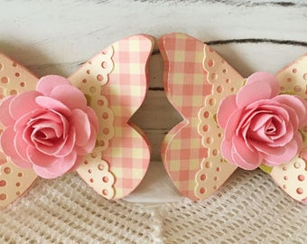 Shabby Pink Handmade Paper Rose Flower Lace Butterfly Embellishments Set of 2