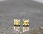 Small Natural Rose Cut Diamond Stud Earrings in 14k Yellow Gold - 3mm Yellow Diamond - Tiny Diamond Earring - Gift for Her - READY TO SHIP