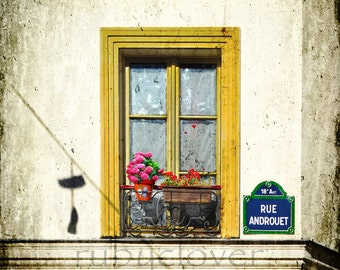 RUE ANDROUET, Shoes on a Wire, Paris Photo, Colorful Window, MONTMARTRE, Yellow Pink Green Blue, Parisian, Window Box Flowers, French Decor