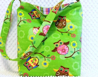 Pink and Green Owls Fabric Purse, Handmade Hobo Slouch Bag, Ladies Shoulder Bag