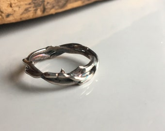 Fine Silver Twig Ring, Size 6.5, 999 Silver, Kiln Fired, Artisan Ring, Silver Band Ring, Crown of Thorns, Branch Ring