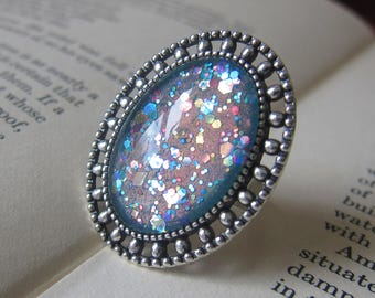 Prism Collection: Faerie Charm - Color-shifting Iridescent Glitter Adjustable Ring