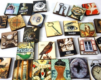 Funky Art Tiles - 28 Wood Tiles with Vintage Flair and Freaky Style