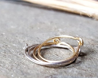 24g hoops-- solid 14k gold, sterling silver or niobium hoops-- primitive series-- handmade by thebeadedlily