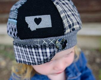 Child Jax Hat in black and grey plaid, lightweight Jax Hat for child, love Montana Hat, Plaid Montana Jax Hat, Boy hat, Christmas gift boy