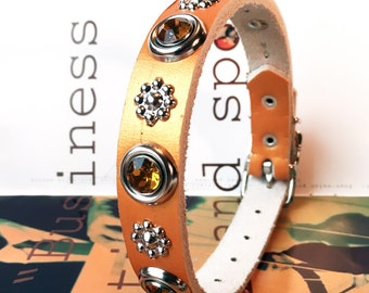 Copper Leather Dog Collar with Silver Flowers and Amber Gems, Size S, to fit a 11-14 Neck, Small Dog, Eco Friendly