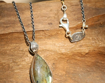 Labradorite pendant necklace in silver bezel setting with multi sapphire beads on the side and oxidized sterling silver chain