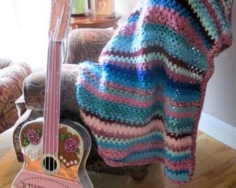 Boho Room Decor - Crochet Afghan - Handmade Blanket - Rose Pink & Turquoise Throw - Boho Decor - Colorful Throw Blanket - Made In the USA