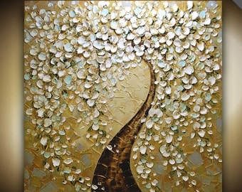 ORIGINAL Huge Abstract White Cherry Blossom Tree Landscape Oil Painting Thick Texture Gallery Painting 36x36 Ready to Hang by Susanna
