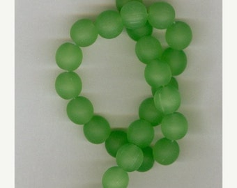 CLEARANCE 8mm Green Sea Glass Round Beads Half Strand