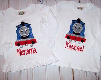 Thomas the Train Applique One Piece Bodysuit with Snaps or T-shirt for a Boy or a Girl - Twins - Thomas Train Birthday Party