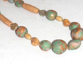 Green Tan Bronze Ceramic Glass Wood Bead Necklace