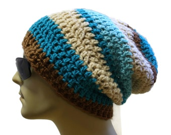 Slouchy Beanie Hipster Hat Mens or Womens Slouch Beanie Crochet Hat
