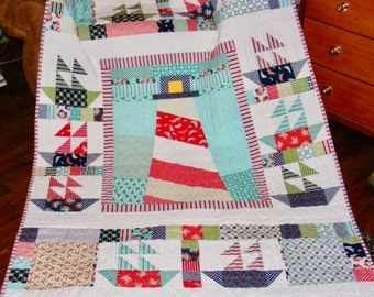 Handmade Lighthouse and Sailboat Quilt Using Moda's Day Sail Fabric by Bonnie and Camille
