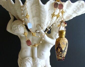 Gilt Embossed Garnet Red Moser Chatelaine Scent Bottle Necklace Pearls Garnet Slices - Garnette Necklace