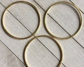 "Macrame Rings, Gold Metal Rings for Dream Catchers Jewelry Crafts Plant Hangers Wall Hangings THREE Rings 3"" Diameter"