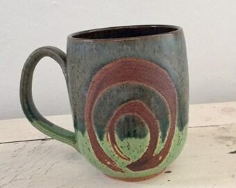 Green meadow mug, coffee mug, tea cup, handmade pottery mug