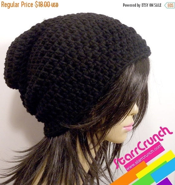 ReOpening Sale 25% Off Slouchy Beanie Crochet Hat in Black