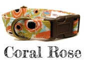 "Vintage Inspired Collar - Peach Floral Roses Dog Collar - Girl Dog Collar - Shabby Chic Dog Collar - Antique Brass Hardware - ""Coral Rose"""