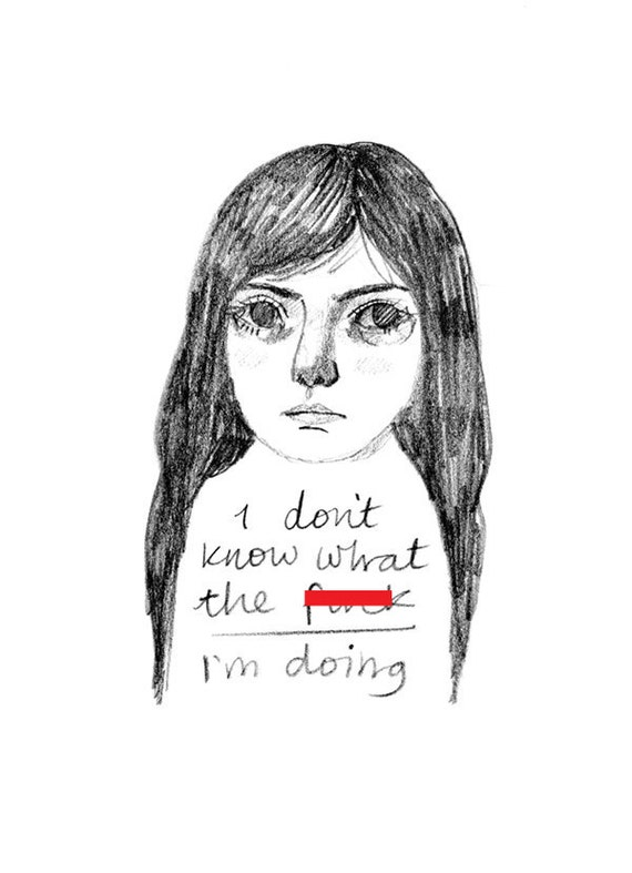 Typography wall art print of pencil drawing girl portrait. A5 home decor illustration for anxious or depressed / depression / confused