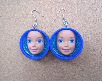 Vintage Barbie Blues - upcycled doll face bottle cap earrings