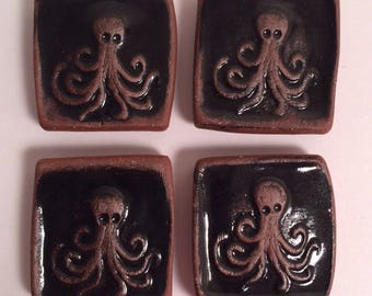 The Octopus Magnet Set - Unique Gift - Stoneware Pottery