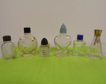 Vintage Miniature Perfume Cologne Bottles with Lids Lot of 6 Various Sizes 1950s Nice Collection for Vanity Display