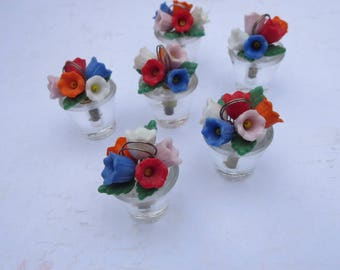 Vintage Set of 6 Glass Flower Pot Place Card Holders Little Pot with Colorful Glass Flowers Made in Czechoslovakia, For Garden or Tea Party