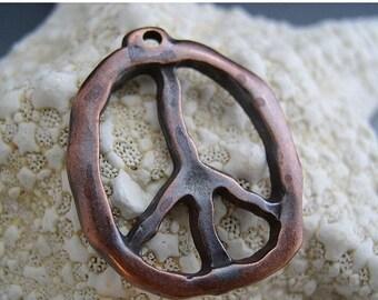 SALE Peace Symbol Pendant 30mm Mykonos Greek Casting Antiqued Bronze Finish