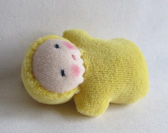small dolls Waldorf dolls yellow baby Waldorf toy gift for kids party favor handmade doll