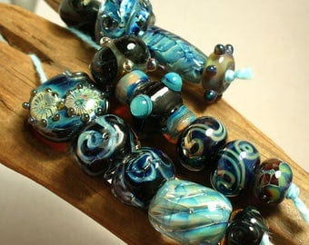 lampwork/sra lampwork/beads/lampwork beads/Double Helix/silver glass/blue/mixed shapes/designer set/murrini