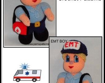 Crochet EMT dolls, crochet patterns, EMT dolls, boy & girl dolls