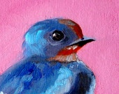 Blue Bird Portrait, Small Oil Painting, Original 4x6 Canvas, Pink, Small Nature Wall Decor Art, Little Creature, Tiny Animal