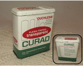 Vintage Curad Ouchless Bandage Box, 60s, hinged lid, Medical supply storage container