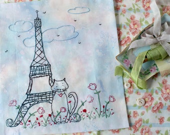 French Cat Eiffel Tower Hand Embroidery PDF Pattern Instant Download