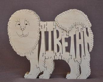 Tibetan  Mastiff  Dog Puzzle Wooden Toy Hand Cut with Scroll Saw