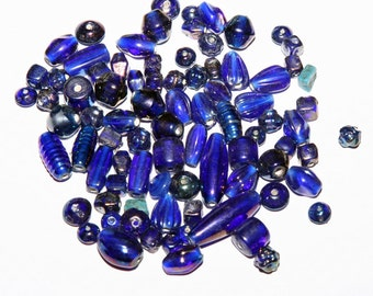 Blue Glass Beads Luster Finish Assorted Sizes 80+ Beads Jewelry Supply Crafts Navy Blue