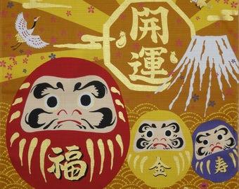 Furoshiki 'Daruma Dolls on Gold' Cotton Japanese Fabric Square 50cm w/Free Insured Shipping