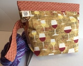 Wine Glasses Snappy Knit Double Shot Project Bag. Organize your knit, crochet, toiletries or electronics easily!
