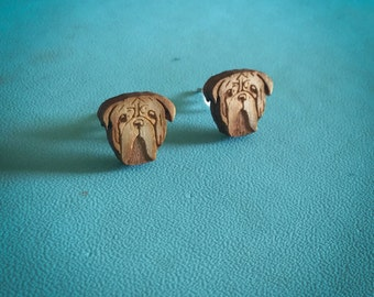 Dogue de Bordeaux Earrings Wearable Art - Dog Earrings Laser Cut Animal Art Mastiff