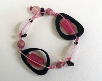 Black and Pink Resin Bracelet - Rose Quartz  - Natural Hemp - Gemstone Bracelet