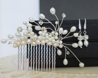 Bridal Hair Comb, Pearl Hair Comb, Bridal Drop Earrings, Wedding Hair Comb, Bridal Hair Piece, Wedding Hair Accessories, Wedding Head Piece