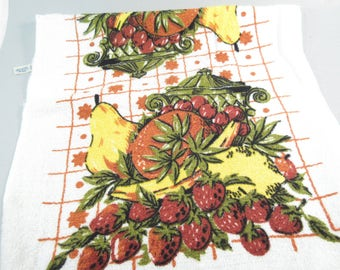 Vintage kitchen towels, fruit towels, bar towels, tiki decor, strawberries, brown and yellow kitchen decor, dead stock, new vintage