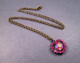 Rhinestone Heart Necklace, Pink Vintage Pendant, Brass Chain Necklace, FREE Shipping U.S.
